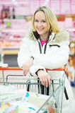 Woman making dairy shopping Stock Image