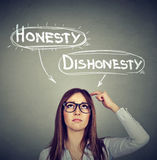 Woman making a decision honesty vs dishonesty. Young woman making a decision honesty vs dishonesty Royalty Free Stock Photography