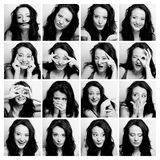 Woman making diferent expressions Stock Images