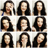 Woman making diferent expressions Royalty Free Stock Images
