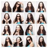 woman making diferent expressions Royalty Free Stock Image