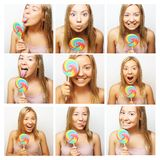 Woman making diferent expressions. Royalty Free Stock Images