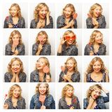 Woman making diferent expressions. Royalty Free Stock Photo