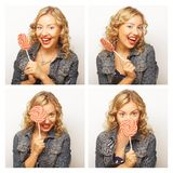 Woman making diferent expressions. Stock Images