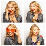 Woman making diferent expressions. Stock Photos