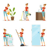 Woman making different housework. Active mother at homework. Vector illustration in cartoon style Royalty Free Stock Image