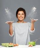 Woman making dough Royalty Free Stock Image