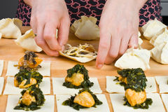 Woman making dumplings Royalty Free Stock Photography
