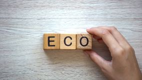 Woman making eco word of cubes, goods and services with no harm to ecosystem. Stock photo stock image