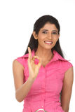 Woman making a excellent gesture Stock Images
