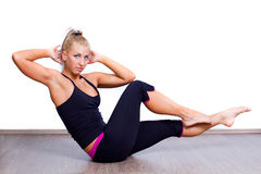 Woman making exercise Stock Photography