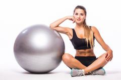 Woman making exercise with pilates ball Stock Image