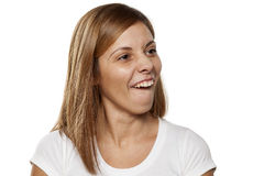 Woman making a face Stock Images