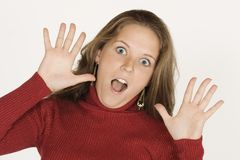 Woman making faces Stock Photo