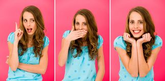 Woman making faces Stock Images