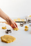 Woman Making Festive Biscuits from Homemade Sweet Dough on White Table Stock Images