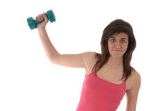 Woman making fitness exercise Stock Images