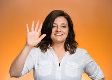 Woman making five times sign gesture Royalty Free Stock Image