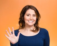 Woman making five times sign gesture with hand fingers Royalty Free Stock Images