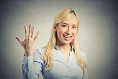 Woman, making five times sign gesture with hand fingers Royalty Free Stock Photos