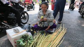 Woman making flowers stock video footage