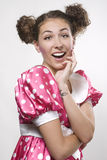 Woman making a funny face. Young beautiful woman making a funny face Stock Photography