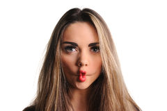 Woman making a funny face. Known as afish-face Stock Photography