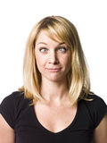 Woman making a funny face. Blond woman making a funny face Royalty Free Stock Photography
