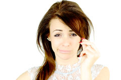 Woman making funny face unhappy about fringe haircut Stock Photography
