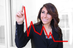 Woman Making Graph Chart Stock Photos
