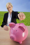 Woman Making Green Investment Stock Images