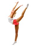 Woman is making gymnastic exercises Royalty Free Stock Images