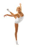 Woman is making gymnastic exercises Stock Image