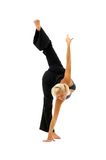 Woman is making gymnastic exercises Royalty Free Stock Photos