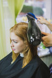 Woman is making hair cut in salon stock photography