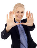 Woman making hand frame Royalty Free Stock Photo
