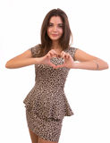 Woman making heart shape with her hands Royalty Free Stock Photo