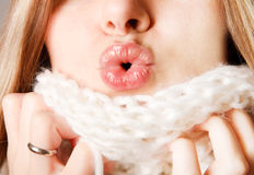 Woman making her lips cupid's bow Royalty Free Stock Photography