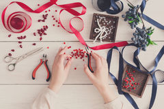Woman making jewelry, home workshop, hobby Royalty Free Stock Photography