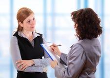 Woman making job interview Stock Image