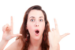 Woman making LOL sign Stock Image