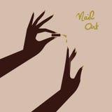 Woman making manicure, applying nail polish. Beautiful woman hand. Vector illustration eps 10 vector illustration