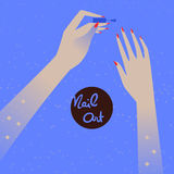 Woman making manicure, applying nail polish. Beautiful woman hand. Vector illustration eps 10 stock photos