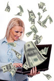 Woman making money online Royalty Free Stock Images