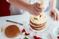 Woman Making The Naked Cake. In The Kitchen Stock Photography