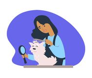 Woman making new haircut to canine domesticated animal. Vector. Lady holding zooming magnifying glass to see female cutting hair of poodle purebred pet isolated stock illustration