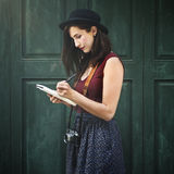 Woman Making Notes Outside City Concept Royalty Free Stock Image