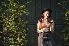 Woman Making Notes Outside City Concept Royalty Free Stock Photography
