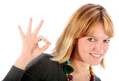 Woman making an ok sign Royalty Free Stock Photos