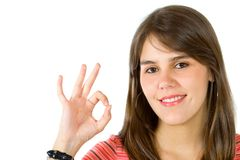 Woman making an ok sign Royalty Free Stock Images
